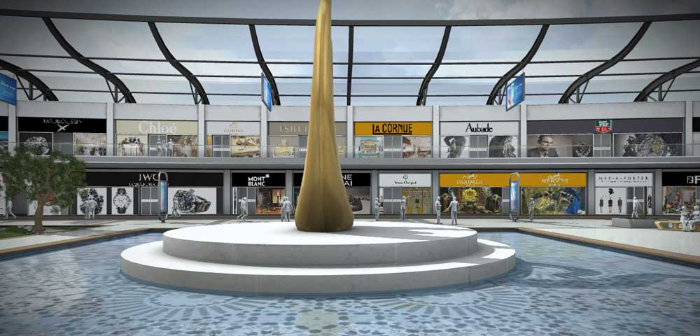 fontaine au mileiu des allées @ Luxe mall 3D shopping center dedicated to luxury brands